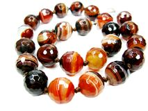 Sardonyx semiprecious beads necklace Royalty Free Stock Photography
