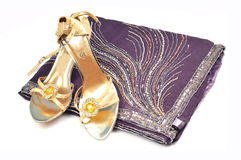Saree en schoeisel royalty-vrije stock afbeelding