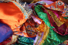Sarees. Indian sarees in many colours, silk stock photo