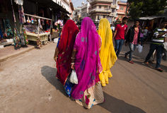 Sarees colorés de port de marche de femmes Photo libre de droits