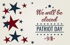 Saremo chiusi Il giorno del patriota, non dimentica mai 9/11 royalty illustrazione gratis
