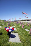 Sarg-Flaggen am nationalen Friedhof Stockfotografie