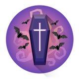 Sarg-Kirchhof-ernste Halloween-Feiertags-Ikone stock abbildung