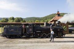 Sargan Vitasi, Servië, 17 Juli 2017: Twee treinbestuurders bereiden de stoomlocomotief voor de reis voor Royalty-vrije Stock Foto's