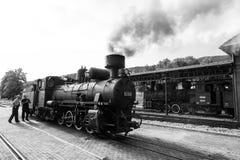 Sargan Vitasi, Servië, 17 Juli 2017: Twee treinbestuurders bereiden de zwart-wit stoomlocomotief voor Royalty-vrije Stock Afbeelding