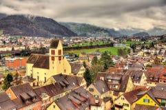 Sargans村庄看法在阿尔卑斯 库存照片