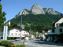 Sargans, ville sur la vallée du Rhin (Suisse) photo stock