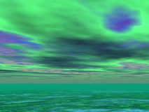 Sargasso Seas. Green sky and Sargasso Seas Stock Image