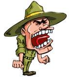 Sargento de broca irritado dos desenhos animados Imagem de Stock Royalty Free
