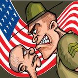Sargento de broca irritado dos desenhos animados Fotografia de Stock Royalty Free
