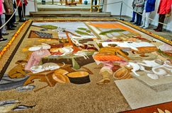 Fruit carpet made of seeds, grains, dried and ground flowers and leaves, Germany Royalty Free Stock Image