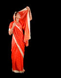 Sari. Young girl in traditional red sari Royalty Free Stock Images