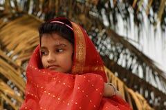 Νέο κορίτσι στην κόκκινη Sari Στοκ Εικόνες
