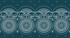 Sari border. Decorative border with peacock design Royalty Free Stock Images