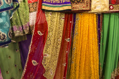 Sari fabric. Reams of sari fabric displayed on a market royalty free stock photography