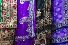 Sari fabric. Reams of sari fabric displayed on a market stall in Calcutta, India royalty free stock images