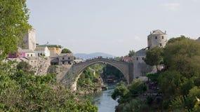 Sari het grootste deel van Mostar op Neretva-rivier in Bosnië-Herzegovina Stock Foto