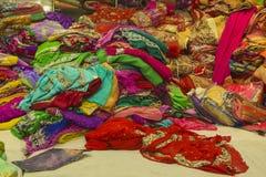 Sari Shop. Indian Traditional Women`s Sari clothing on Market. B Royalty Free Stock Images
