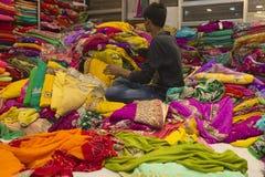 Sari Shop. Indian Traditional Women`s Sari clothing on Market. B Royalty Free Stock Image