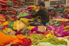 Sari Shop. Indian Traditional Women`s Sari clothing on Market. B Royalty Free Stock Photos