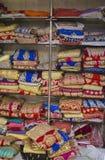 Sari Shop. Indian Traditional Women`s Sari clothing on Market. B Stock Images