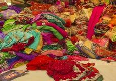 Sari Shop. Indian Traditional Women`s Sari clothing on Market. B Stock Image