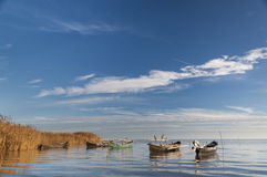 Sarichio's fishing boats. An image of fishing boats waiting the next day of work, in Sarichio, Tulcea, Romania Stock Photo
