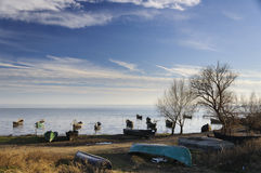 Sarichio's fishing boats. An image of fishing boats waiting the next day of work, in Sarichio, Tulcea, Romania Royalty Free Stock Photos