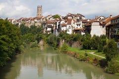 Sarine River bei Fribourg Stockbild