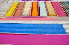 Saris after washing on stair in Varanasi Royalty Free Stock Photo