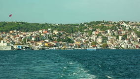 Sariyer Istanbul. Leaving the small fishing harbor Sariyer in Istanbul stock video