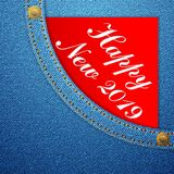 Sarja de Nimes do ano novo feliz ilustração do vetor