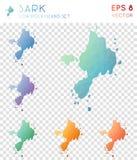 Sark geometric polygonal maps, mosaic style. Sark geometric polygonal maps, mosaic style island collection. Mesmeric low poly style, modern design. Sark Stock Images
