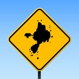 Sark map on road sign. Square poster with Sark island map on yellow rhomb road sign. Vector illustration Royalty Free Stock Photo