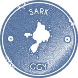 Sark map vintage stamp. Retro style handmade label, badge or element for travel souvenirs. Light blue rubber stamp with island map silhouette. Vector Stock Images