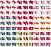Sark, Taiwan, Turkish Northen Cyprus, Karelia, Isle of man, North Ossetia, Solomon Islands, Mali, Norway. Big set of 81 flags. Stock Photo