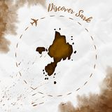 Sark watercolor island map in sepia colors. Discover Sark poster with airplane trace and handpainted watercolor Sark map on crumpled paper. Vector illustration Stock Photos
