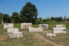 Sarkofag i Ephesus den forntida staden Arkivbilder
