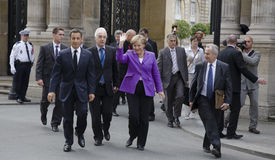 Sarkozy and Merkel Stock Photos