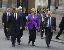 Sarkozy and Merkel Stock Images