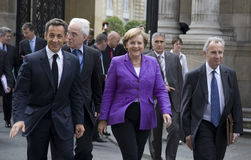Sarkozy and Merkel Royalty Free Stock Images