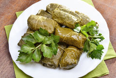 Sarma grape vine leaves, stuffed with rice Royalty Free Stock Image