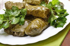 Sarma grape vine leaves, stuffed with rice Stock Images