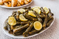 Sarma, Stuffed Grape Leaves Stock Photos