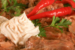 Sarmale, cucina rumena, cabage farcito Fotografia Stock Libera da Diritti