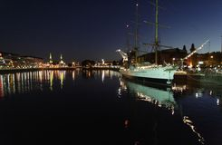 Sarmiento Frigate Puerto Madero at Night Royalty Free Stock Images