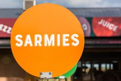 Sarmies Sandwich Word Orange Disk Sign Royalty Free Stock Photography