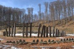 Sarmizegetusa Regia在春天, Orastie山,胡内多阿拉Coun 免版税库存照片