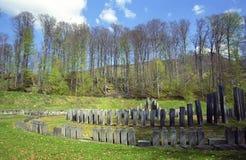 Sarmizegetusa Regia Big Circular Sanctuary. Situated at 1200m altitude, Sarmizegetusa was the strategical centre of the dacian defensive system in Orastiei stock images