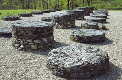 Sarmizegetusa Regia Big Limestone Sanctuary. Situated at 1200m altitude, Sarmizegetusa was the strategical centre of the dacian defensive system in Orastiei royalty free stock photo